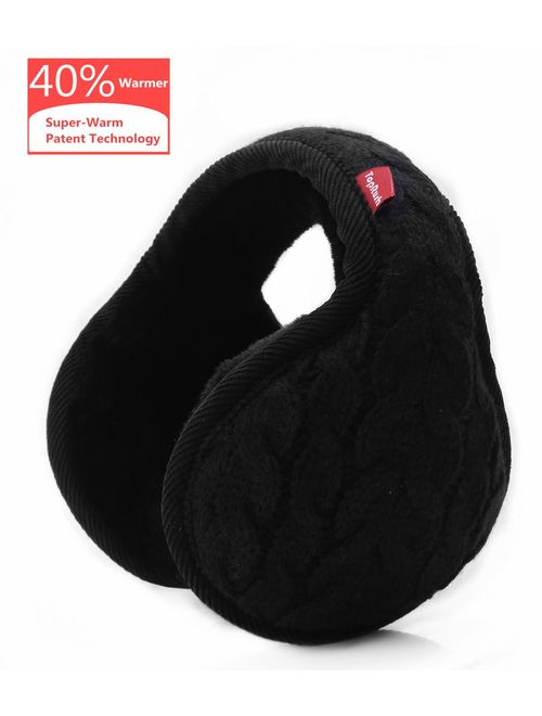 TopRush Foldable Ear Warmers/Ear Muffs - High-Class Windproof Fleece Winter Earmuffs Men Women & Kids