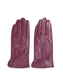 MATSU Casual Women Winter Warm Lambskin Touchscreen Texting Leather Gloves M9229 (Cashmere or Long Fleece)