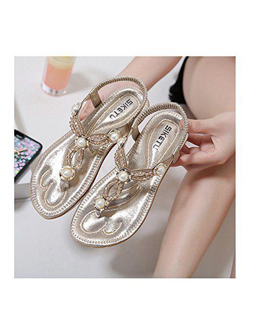 DolphinBanana Bohemian Glitter Summer Flat Sandals Prime Thongs Flip Flop Shoes