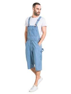 USKEES Mens Palewash Denim Overall Shorts Walkshort Bib-Overall Shorts Shortalls
