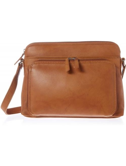 ili New York 6333 Leather Shoulder Handbag with Side Organizer