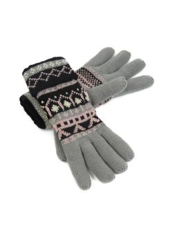 Cozy Design Women's Knitted Gloves with Roll Up Cuffs for Winter