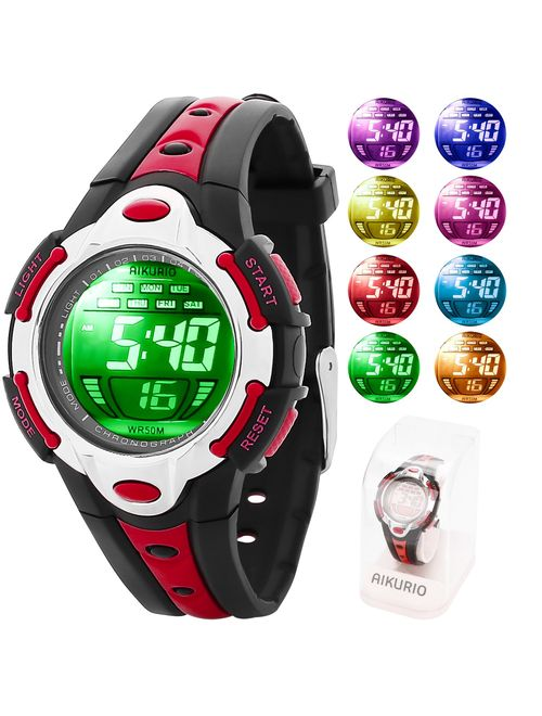 AIKURIO Children's Digital Watch 50M Waterproof with Rubber Strap and 8 Colours LED Lights for Sports Outdoor AKR006
