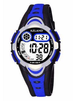 AZLAND Multiple Alarms Waterproof Kids Watches Boys Girls Digital Sports Teenagers Wristwatch