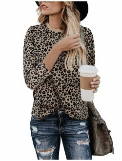 BMJL Women's Casual Cute Shirts Leopard Print Tops Basic Soft Blouse