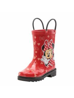 Disney Girls Minnie Mouse Character Printed Waterproof Easy-On Rubber Rain Boots