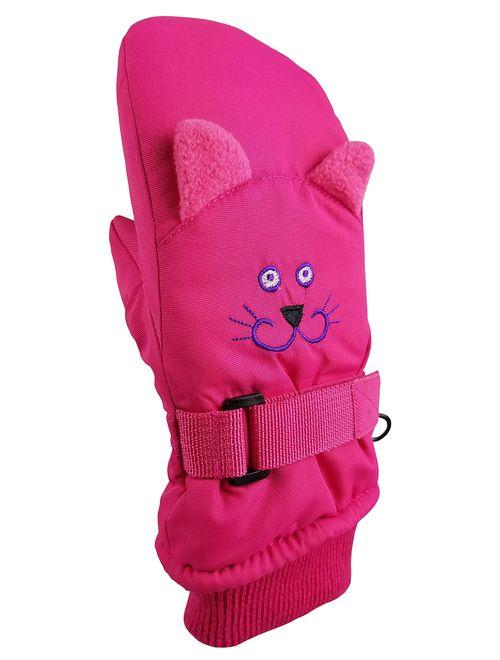 NIce Caps Little Kids Cute Animal Faces Waterproof Warm Winter Snow Mittens
