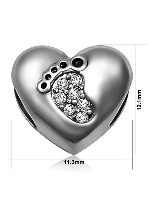 JMQJewelry Heart Mom Love Baby Footprints Jan-Dec Birthstone Charms Beads for Bracelets Mother Gifts