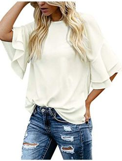 luvamia Women's Casual 3/4 Tiered Bell Sleeve Crewneck Loose Tops Blouses Shirt