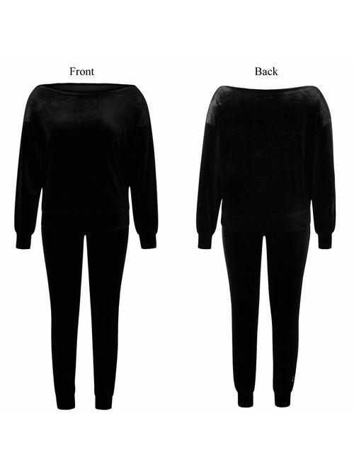 Fixmatti Womens 2 Piece Off One Shoulder Sweatshirt Jogging Set Velvet Sweatsuit