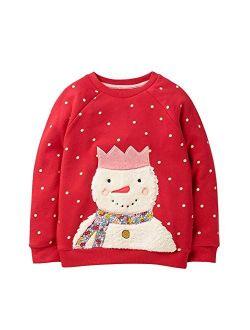 HUAER& Baby Girl Cotton Long Sleeved Pullover Sweatshirt