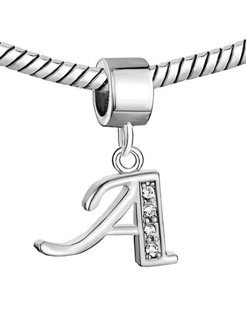 CharmSStory Alphabet Beads A-Z Letter Initial Spacer Dangle Clear Synthetic Crystal Silver P Charm For Snake Chain Bracelets
