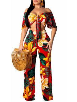Women's Two Piece Sets Floral Tie Front Short Sleeve Crop Tops Long Pants Jumpsuits