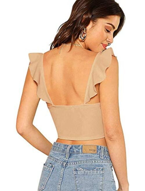 SheIn Women's Plain Ruffle Strap Knot Front Backless Cute Cami Crop Top Bralette