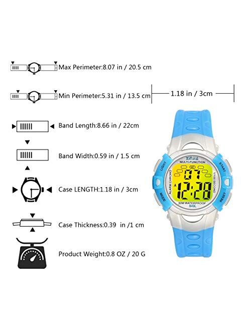 Digital Watches for Kids, 7 Colors LED Light Boys Girls Watch Waterproof Sports Watches Digital Watch for Age 2~14 Children Gift