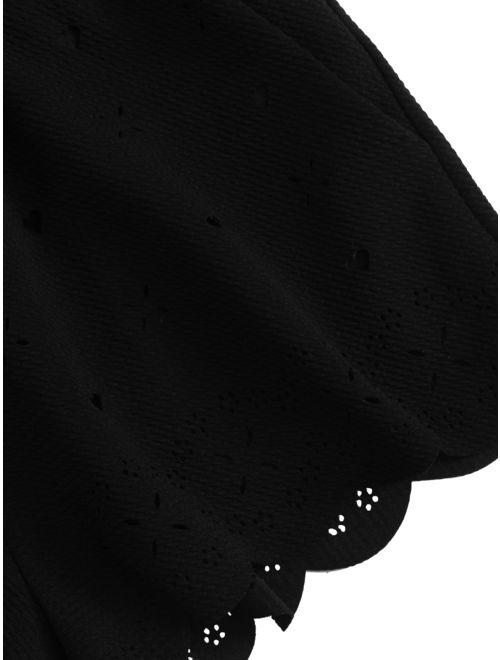 SweatyRocks Women's Nightwear Lingerie Strapy Crop Top and Shorts Pajama Set