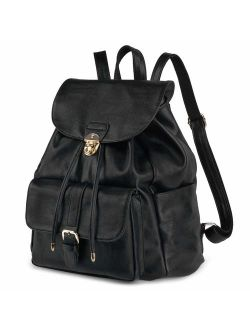 Leather Backpack For Women, COOFIT Black Backpack Purse Womens Backpack Drawstring Backpack Casual Daypack