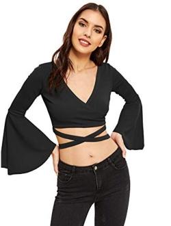 Women's V Neck Long Bell Sleeve Warp Front Tie Up Cross Crop Top Blouse Shirt