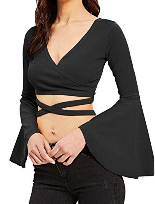 SheIn Women's V Neck Long Bell Sleeve Warp Front Tie Up Cross Crop Top Blouse Shirt