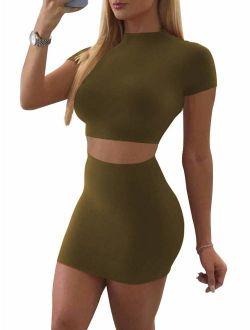 SINRGAN Women's Casual 2 Piece Short Sleeve Crop Top Bodycon Skirt Set