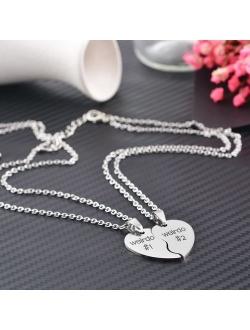 MJartoria Best Friend Necklaces BFF Necklace for 2 Friendship Valentines Day Gift Split Heart Weirdo 1 Weirdo 2 Best Friends Forever Pendant Set