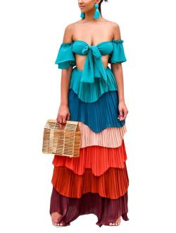 Yissang Women's Muti Color Strapless Tiered Ruffle Pleated Chiffon Crop Top with Maxi Long Skirt Set Dress