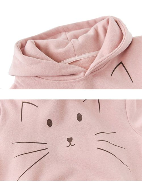 D-Sun Girl's Cute Cat Hoodie with Cat Ears Hooded Sweatshirts Pullover