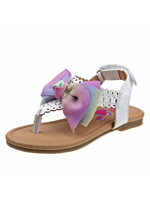JoJo Siwa Girls' Thong Sandals with Signature Bow and Easy Heel Strap (Toddler/Little Kid/Big Kid)