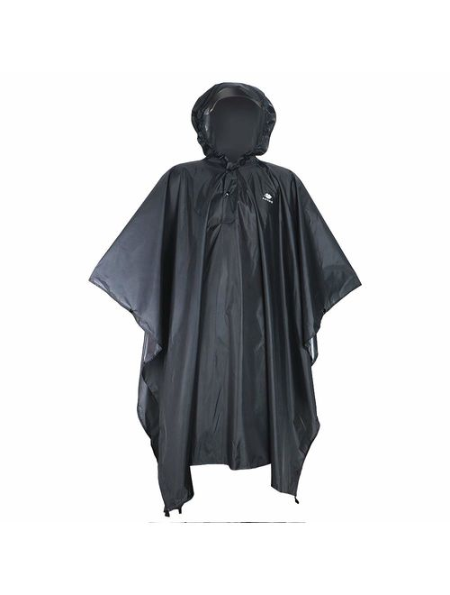Anyoo Lightweight Waterproof Rain Poncho Reusable Ripstop Breathable Raincoat with Hood for Outdoor Activities