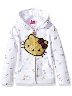 Hello Kitty Girls Zip Up Hoodie with Sequin Applique