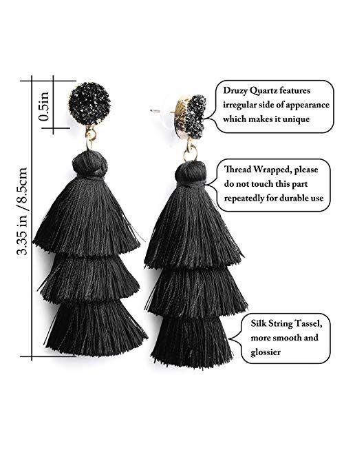Me&Hz Bohemian Big Dangle Drop Statement Colorful 3 Tier Layer Tassel Earrings