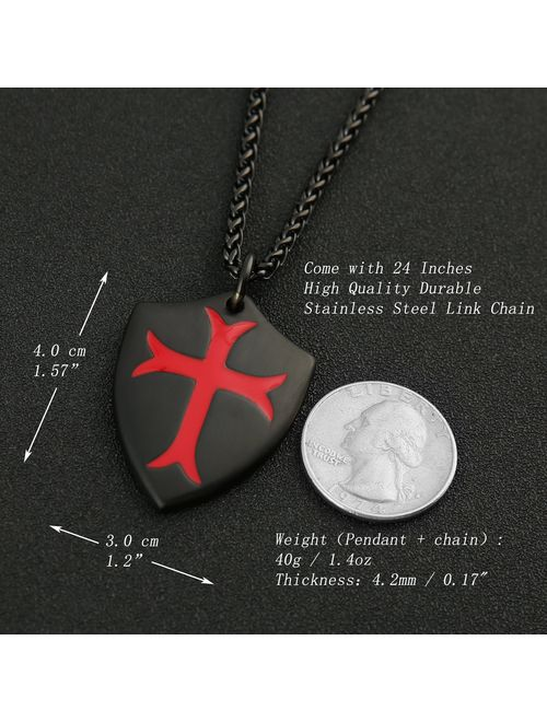 HZMAN Knights Templar Cross Joshua 1:9 Shield Stainless Steel Pendant Necklace with 24 inch Chain