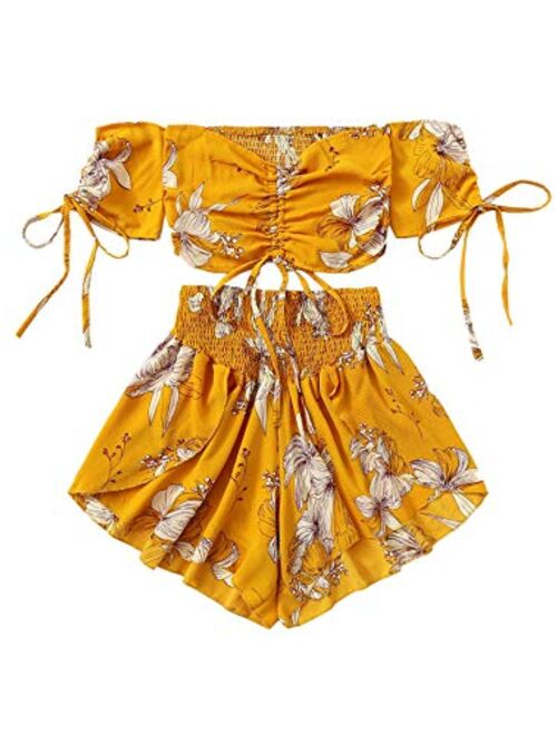 SheIn Women's Boho Floral Two Piece Outfit Off Shoulder Drawstring Crop Top and Shorts Set
