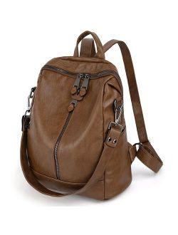 Women Backpack Purse Pu Washed Leather Convertible Ladies Rucksack Zipper Pockets Earphone Hole Shoulder Bag