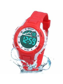 Kids Digital Watches for Girls Boys,Outdoor Sports Waterproof Multi Function Wristwatch with Alarm/Timer/LED Light/Dual Time Zone/Soft Rubber Strap for Children Gift Box