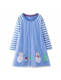 HILEELANG Toddler Girls Casual Dress Cotton Long Sleeve Warm Christmas Basic Party Shirt Tunic Dress