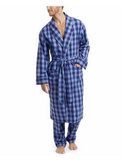 Men's Long Sleeve Lightweight 100% Cotton Shawl Collar Woven Robe