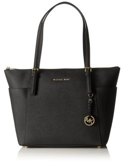 Women Jet Set Large Top-zip Saffiano Leather Tote Shoulder Bag