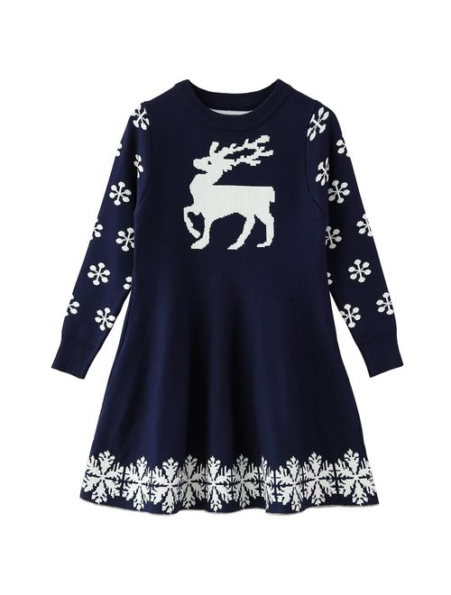 SMILING PINKER Little Girls Christmas Dress Reindeer Snowflake Xmas Gifts Winter Knit Sweater Dresses
