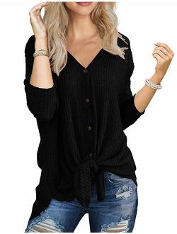 Halife Womens Waffle Knit Tunic Blouse Long Sleeve V Neck Button Down T Shirts Tie Front Tops