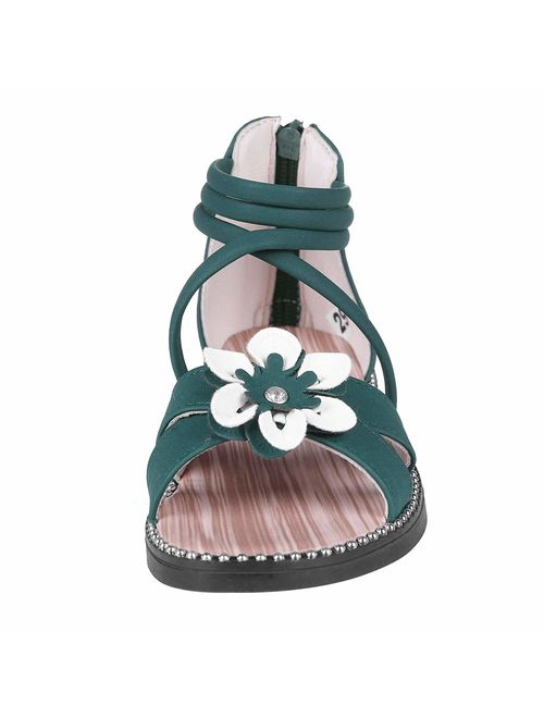 shevalues Girl's Open Toe Sandals Flower Flat Sandals Dress Sandals for Kids