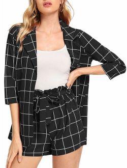 Women's 2 Pieces Plaid Thin 3/4 Sleeve Blazers And Self Tie Waist Shorts Set