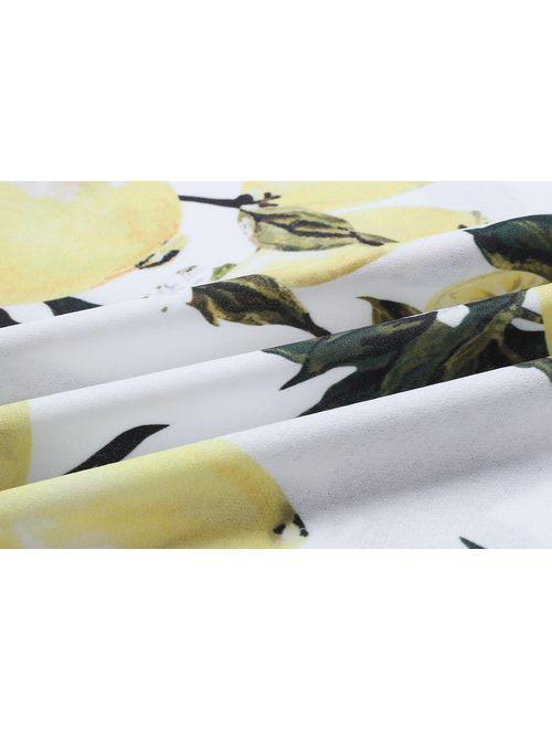 Women's Floral Lemon Bandeau Crop Top with Maxi Skirt 2 Piece Outfit Set