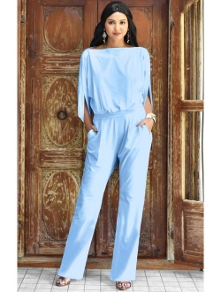 Womens Short Sleeve Sexy Semi Formal Cocktail One Piece Jumpsuit Romper