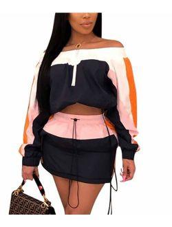 Emoliy Women 2 Piece Outfits Tracksuit Jumpsuits Lightweight Windbreaker Pullover Jacket Crop Top Pants Set