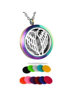 HooAMI Essential Oil Diffuser Necklace Aromatherapy Pendant Stainless Steel Locket Jewelry for Women, Men, Boy, Girl