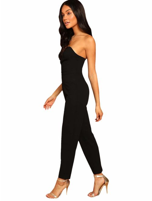 Romwe Women's Elegant Sweetheart Neck Strapless Stretchy Party Romper Jumpsuit