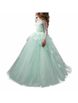 Lovely Flower Girl Dress Lace Long Sleeves Prom Gown
