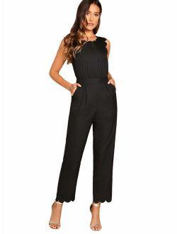 Women's Sleeveless Scallop Edge Solid Mid Waist Long Pants Jumpsuit