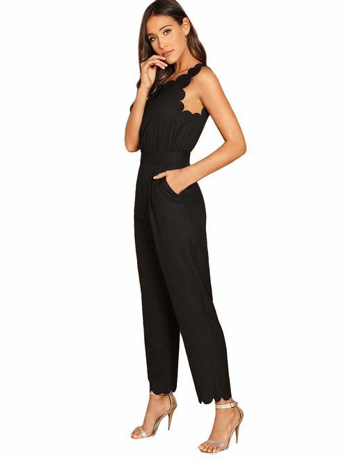 ROMWE Women's Sleeveless Scallop Edge Solid Mid Waist Long Pants Jumpsuit